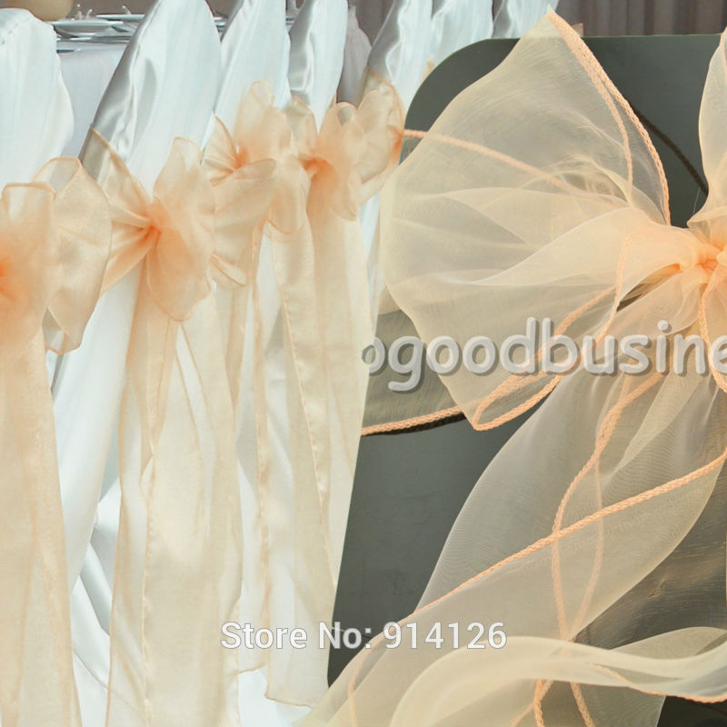 Fatory price 100pcs High Quality light coral /peach Organza chair sashes Bow Cover Wedding decoration Banquet Venue Decoration(China (Mainland))