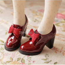 size 32-43 vintage style woman small bowtie platform pumps,ladys sexy high heeled shoes,Students' shoes Wedding Shoes for women(China (Mainland))