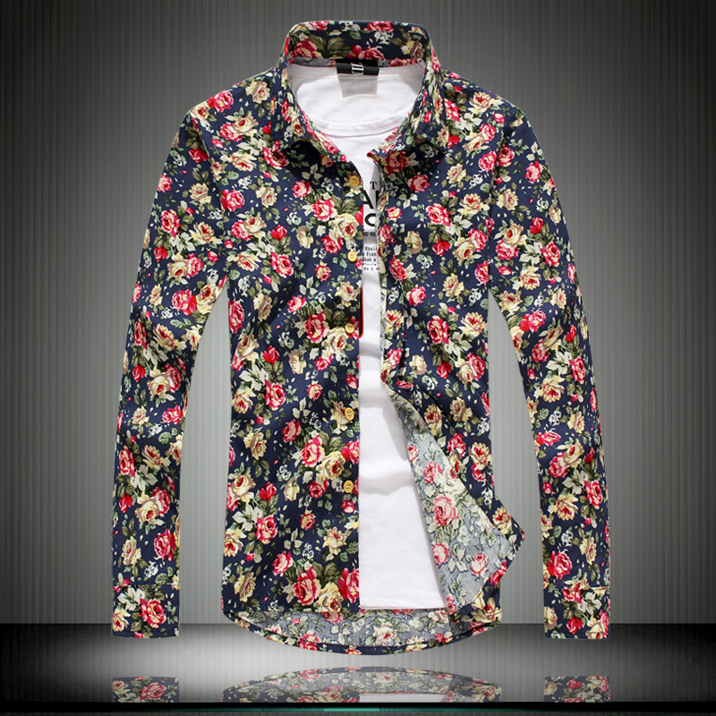 mens flower pattern retro shirts men long sleeve shirt 100