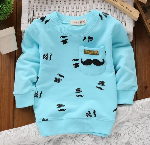 2015 New Autumn Children Long-Sleeved Round Neck T Shirt Boys Fashion Casual Sports Sweatshirt Pocket Beard Hat 5-Color T-Shirt(China (Mainland))