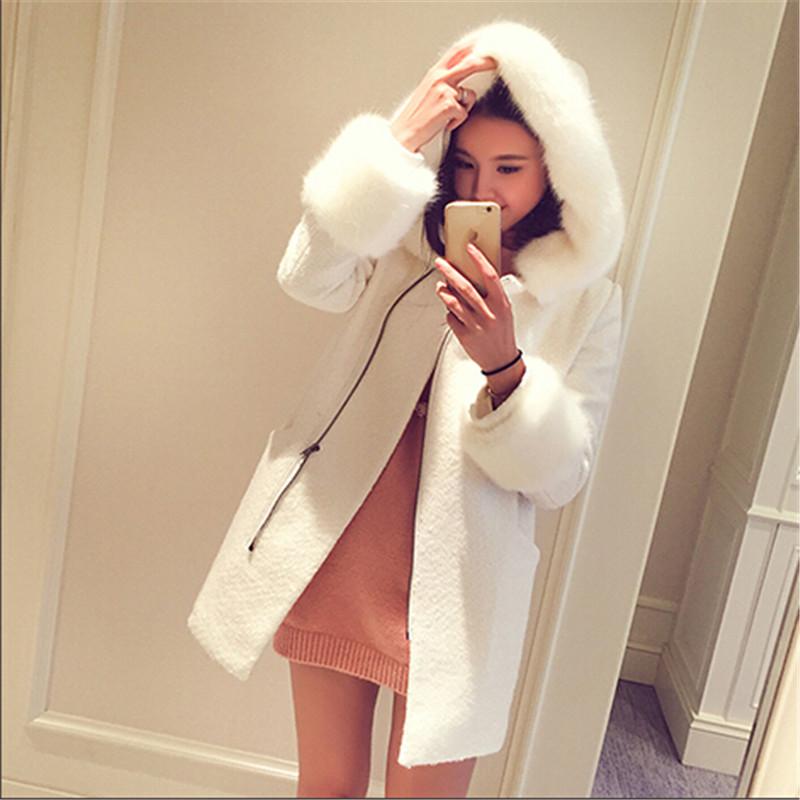 Tops Cashmere Coat Women Cardigan Coat Winter Imitation cashmere Parka Fur collar Hoodies Add cotton Long Latest BN745(China (Mainland))