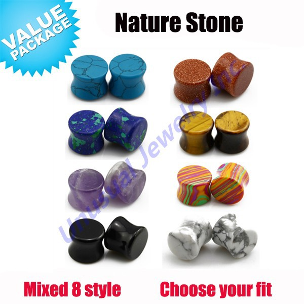 Unusual 16pcs/lot Different Colors Smooth Stone Ear Gauge Plugs Ear Stretcher Tunnels Expander 8mm-14mm Wholesale Free Shipping(China (Mainland))