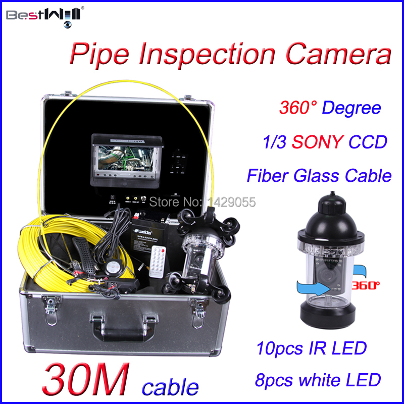 FREE Shipping 30M 360 degree camera Sewer Pipe Inspection Camera HD 600 TVL with 7'' Digital LCD Screen Fiber Glass Cable(China (Mainland))