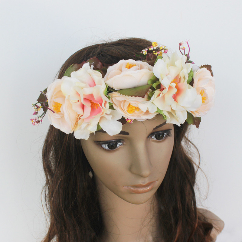 Women's Artificial Flower Wreath Headpiece Crown Flower Floral Garland For Wedding Bridal Deco And Hair Accessories Boho