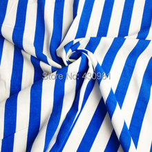 wholesale meter white and blue stripes fabric preppy styles soft rayon material for clothing printed cotton dress fabric(China (Mainland))