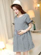 New Breast Feeding Maternity Summer Dress Plaid Short-sleeved Bowknot Leisure Pregnant Women Clothes Gravida Lactation Vestdios