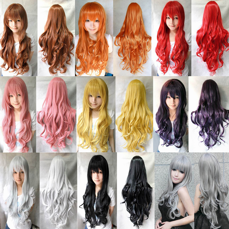 1 Pcs 31/80cm Heat Resistant Bang Long Wavy Curly Cosplay Anime Wigs Party Lot 8 Colors<br><br>Aliexpress