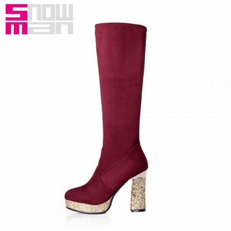 2015 Glitter Hoof High Heels Platform Shoes Autumn Winter Boots Women Boots Shoes Woman Sexy Leopard 3 Styles Knee High Boots