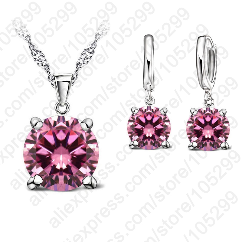 2017 Selling 925 Sterling Silver Jewelry Sets 4 Claws Cubic Zirconia CZ Pendant Necklace Earring Fashion Jewelry For Women SET(China (Mainland))