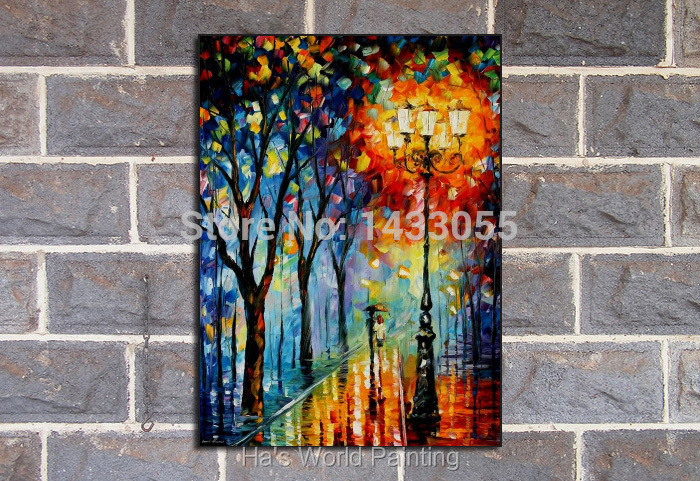 Buy 100%Handpainted Abstract Warm Night Knife Oil Painting On Canvas Thick Oil Painting Wall Picture For Home Decor As Best Gift cheap