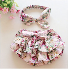 Floral Baby Bloomer Set,Baby Ruffle Bloomer Headband Set,Newborn ruffle diaper cover,baby photo outfit 1set(China (Mainland))