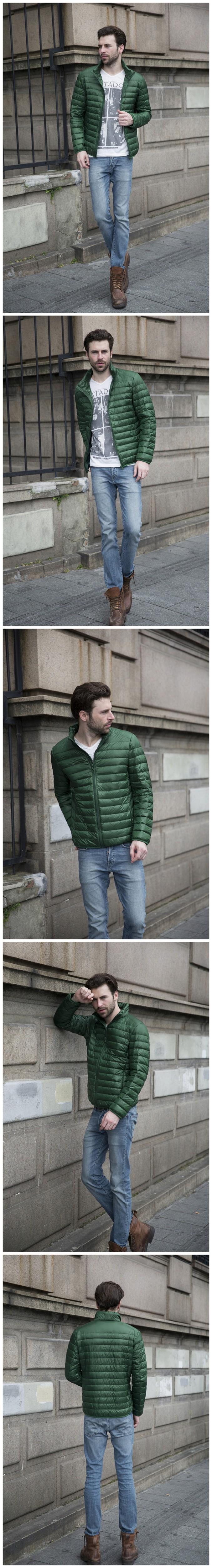 Новый осень зима утка пуховик мужчин ультра-тонкими длинными рукавами тонкий слой Большой размер свободного покроя парки мода теплое пальто