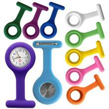 Nurses Fob Pocket Watches Medical Nurse Watch Brooch Pin Silicone Covers 10 Colors Randomly(China (Mainland))