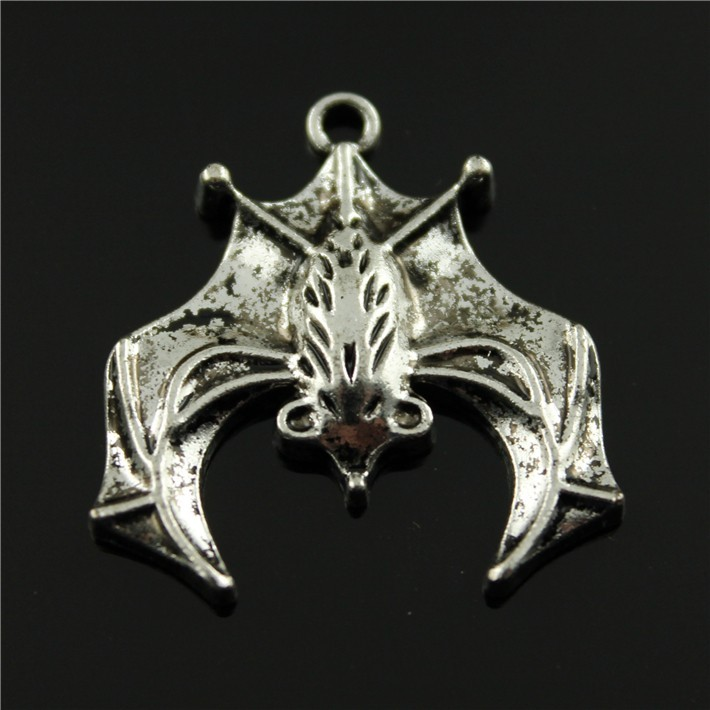 15pcs/lot 32*31mm 2 colors antique bronze, antique silver plated big size Hanging down bat charms(China (Mainland))
