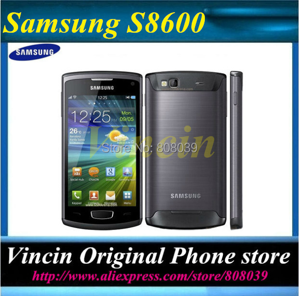 Free Shipping Good quality Original Samsung S8600 Wave 3 mobile phone 5MP Camera 3G wifi GPS 4.0'' touch refurbished phone(China (Mainland))