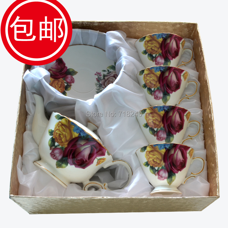 Free shipping gold Rose 9pcs flower coffee cup gift box set fashion tea set gift afternoon