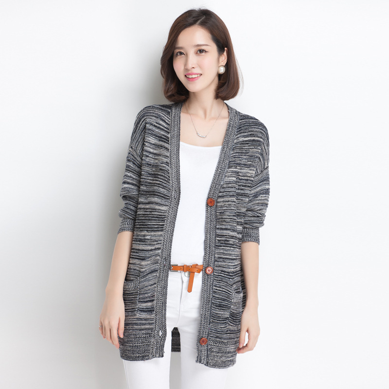 Free Shipping Cardigan Women casual gray black Crochet Knitted Blouse Long-sleeve Tops Women long Sweaters Cardigans Y0316-112D
