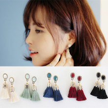 Thread Long Tassel Earrings Rhinestone Drop Statement Fringe Earrings for Women EX131