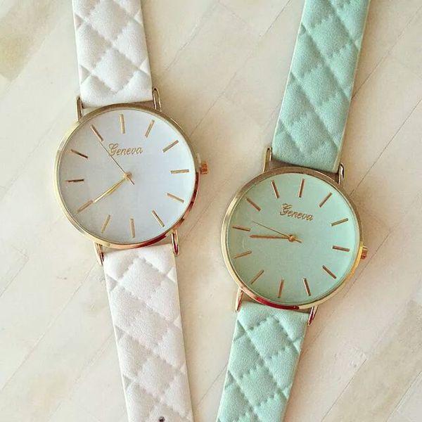 Free shipping 2015 New Fashion Women Dress Watch ventage Leather Lake Blue Watches refined Bracelet  wristwatch casual  W047(China (Mainland))
