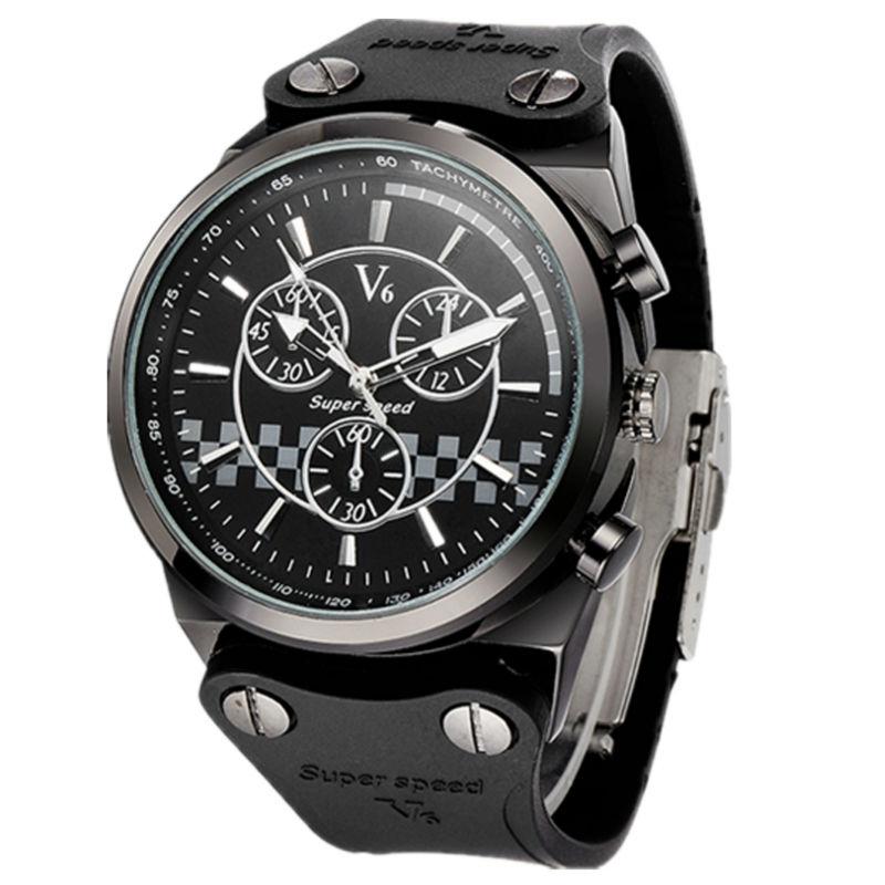 V6 super speed men luxury wrist classic black silicone band japan quartz movement army men sports watch<br><br>Aliexpress