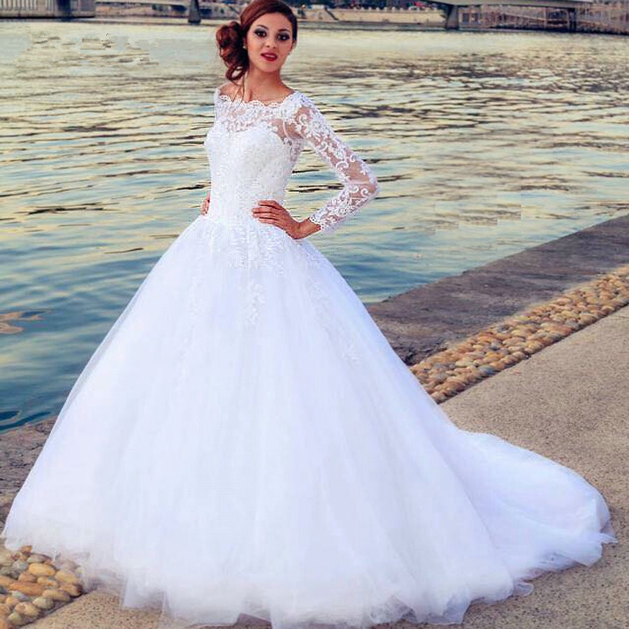 New vintage white ball gown wedding dresses 2016 sexy long for Long sleeve ball gown wedding dress