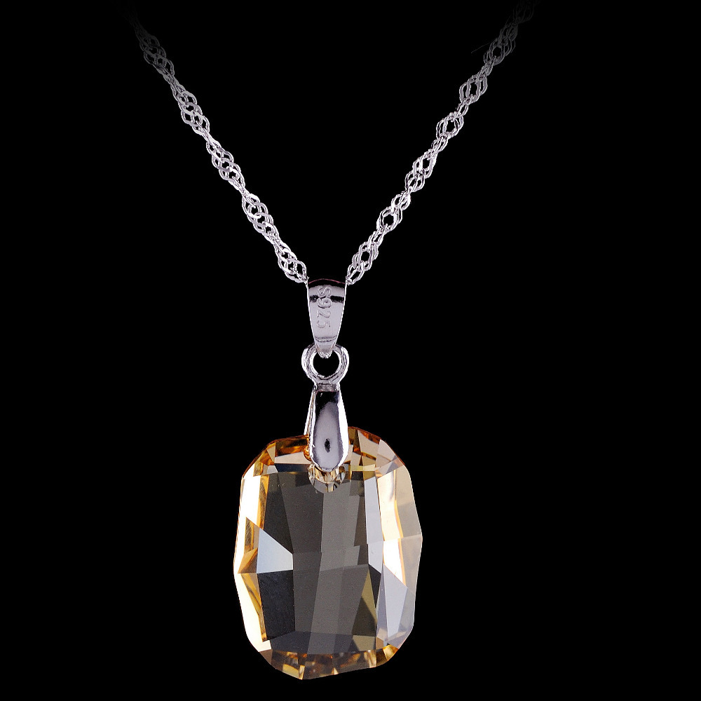 Jewelry Orange Crystals Pendant Necklace Lady's Necklace 925 sterling silver necalace for women gift(China (Mainland))