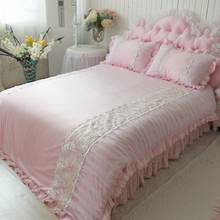 warm textile pink short plush bedding set soft smooth wedding decoration bedding Embroidery duvet cover romantic(China (Mainland))