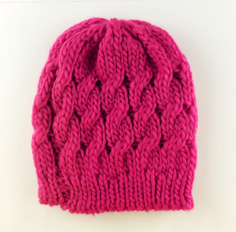 New Fashion Lady Knit Rose Red Hat Winter Warm Braided Baggy Beret Beanie Cap(China (Mainland))