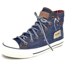 Vintage cotton-made shoes retro finishing water wash denim Women high flat casual canvas shoes women's shoes