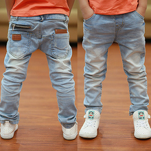 2016 Spring newest fashion style white boys jeans soft material fit for age 3 to 12 years old children pants  B135(China (Mainland))
