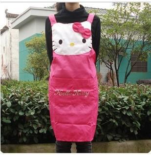 (5 pcs/Lot) Lovely Quality Hello Kitty Cartoon Women Lay Girl's Aprons Big Kitty Cat Big Pocket On Front(China (Mainland))