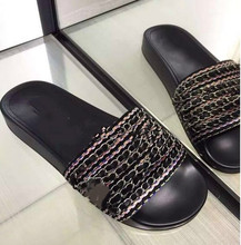 2016 new leather sandals muffin slippers six chain + woolen casual sandals flat shoes lazy shoes for women
