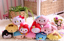 free shipping 12cs/lot Tsum Tsum cartoon plush pendant Hello kitty frog Melody Rubbit plush Screen cleaner wiper toys(China (Mainland))