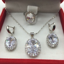 925 Silver Necklace Pendant Earrings Ring Size 6/7/8/9 Clear White Zircon Rhinestone Jewelry Sets For Women Free shipping(China (Mainland))
