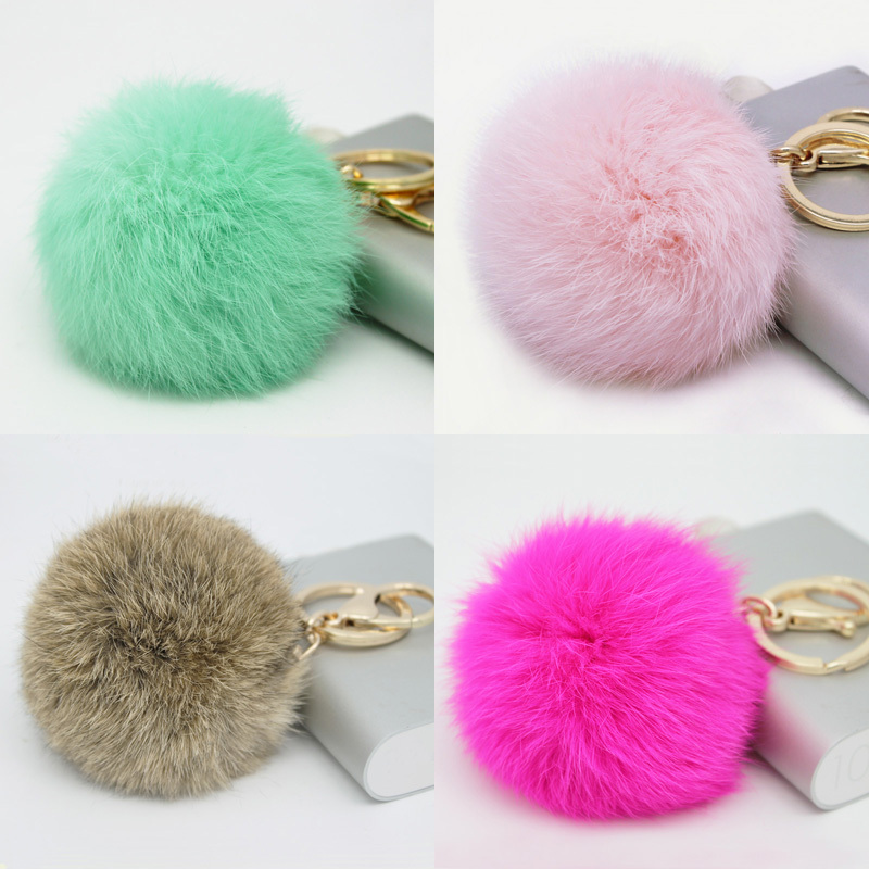 Hot Sales 8CM Super Round Metal Key Chain Real Rabbit Hair Bulb Fur Plush Pom Poms