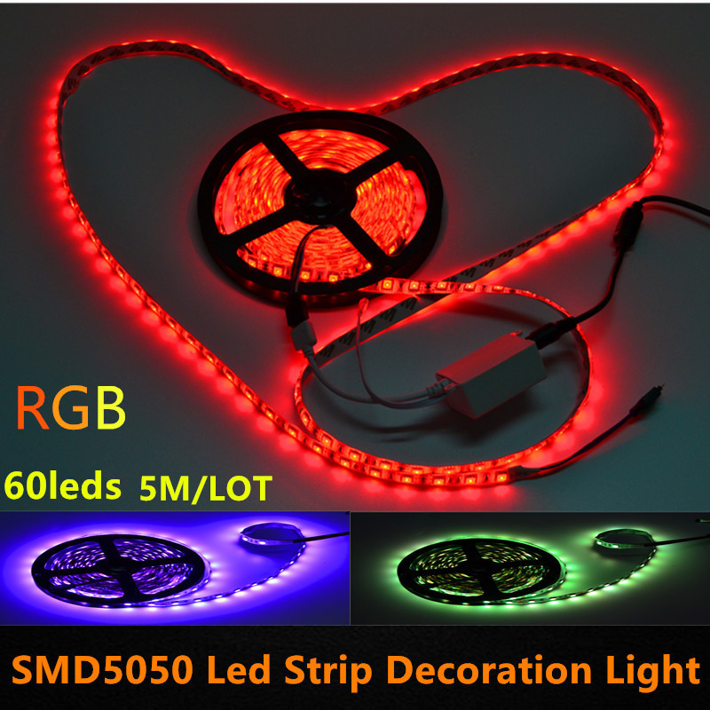 5M 60leds/m 300Leds SMD 5050 RGB LED Flexible Strip Light With 44key IR Remote and 12V 6A Power Supply EU US UK AU(China (Mainland))