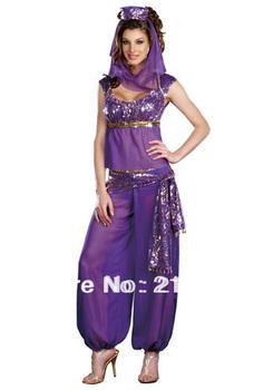 Belly Dancer Costumes Genie Arabian Princess Jasmine Fancy Dress Halloween Party Full Set Outfit