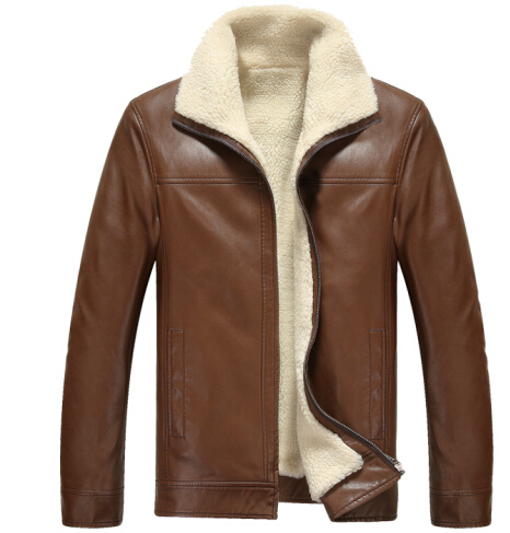 2015 Men's new fall winter fashion plus thick velvet Slim leather jacket PU coat warm air shipping - xiaocui boutique clothing store