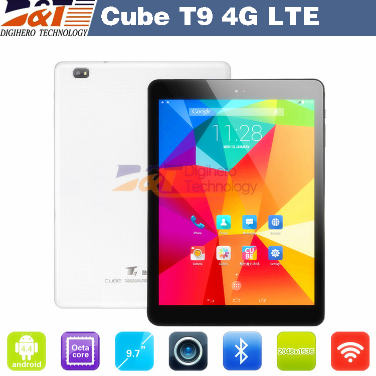 "Original 9.7"" Cube T9 Android Tablet PC 2048x1536 Octa Core 13.0MP Camera 2GB+32GB OTG Play Store 4G LTE Phone Call Android 4.4(China (Mainland))"