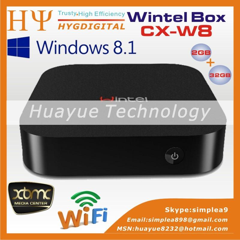 NEW! CX-W8 Wintel Smart Mini PC Intel TV box Atom Z3735F Quad Core Windows 8.1 2GB 32GB Faster Than Android TV Box