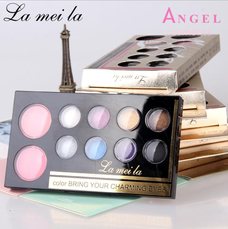 New Brand Makeup Maquiagem Set 10 Color Eyeshadow Palette Cheek Blush /Pressed Powder+ Eye Shadow Makeup Free Shipping BY LML(China (Mainland))