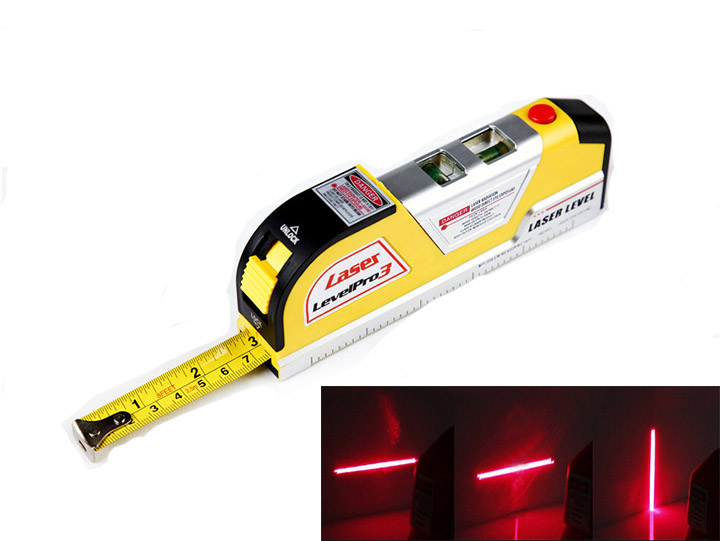laser level wire Infrared Cross Line Laser Level Tape Measure 2.5 meter aluminum seat(China (Mainland))