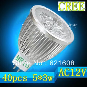 Free shipping 40pcs/lot  MR16/GU10/E27/GU5.3/E1415W 5x3W CREE dimmable High power Spotlight LED Bulb Lamp LED Lighting