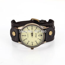 2014 New Unisex Vintage Punk Genuine Leather Bracelet Wrist Watch with Wide Band Big Dial Watch