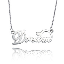 Free Shipping 100% Pure 925 Sterling Silver Letter Necklace,Wholesale Fashion Jewelry,Can Drop Ship,YY4938(China (Mainland))