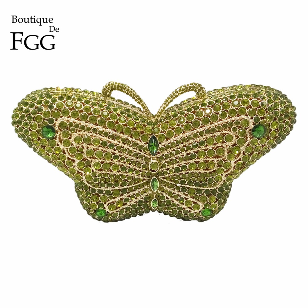Luxury Crystal Diamond Women Green Butterfly Evening Box Clutches Handbags Hardcase Metal Wedding Party Banquet Shoulder Purse(China (Mainland))
