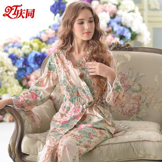 Весна и осень женщины тканые 100% хлопок пижамы новинка с длинным рукавом брюки кружева ...