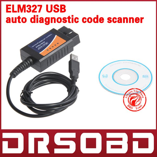 Wholesales OBD/OBDII scanner ELM 327 car diagnostic interface scan tool ELM327 USB supports all OBD-II protocols(China (Mainland))