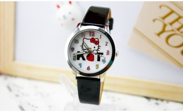 2016 New Brand Fashion Kids Leather Strap Quartz Cartoon Watch Hello Kitty Watches Children Dress Wristwatches Pink Hot - Babi Fu's store