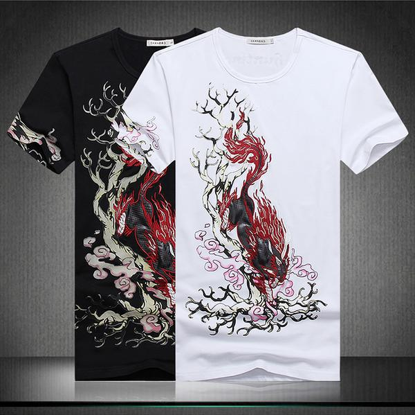 2015 Summer Korean New trend Male short sleeve T-shirt Chinese Element style Personality fashion unicorn pattern t shirt menОдежда и ак�е��уары<br><br><br>Aliexpress